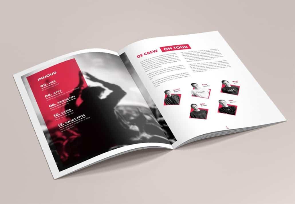 Crew On Tour opengeslagen brochure loverbos communicatie